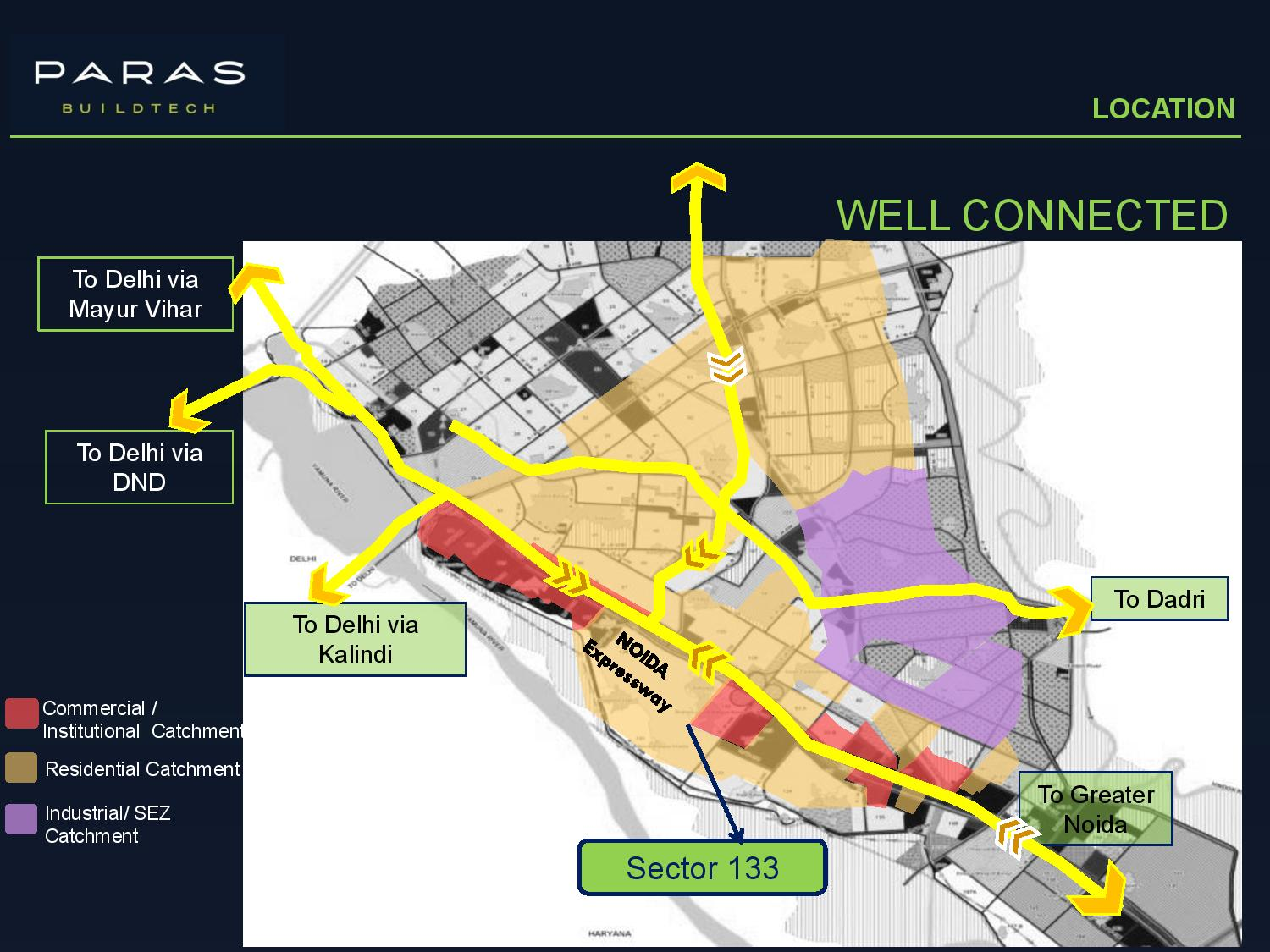Location Map of Paras Commercial with Connectivity